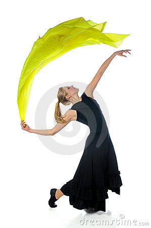 Dancer With Trailing Silk Fabric