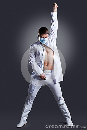Dancer in white doctor costume