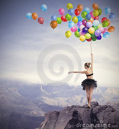 Free Dancer With Balloons Stock Photo - 34883650