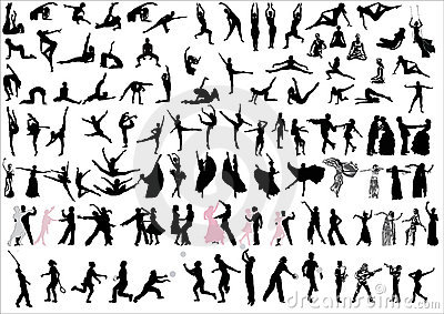 Danceres and sportsmen silhouettes