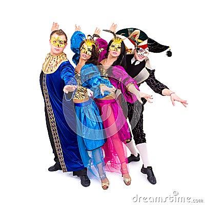 Dancers in carnival costumes posing