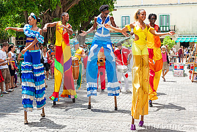 Dancers at a carnival in Old Havana Editorial Photography