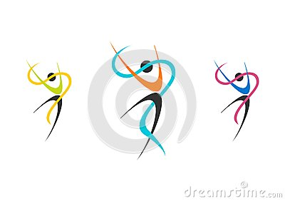 dancers, logo, wellness, ballerina, set ballet illustration,fitness,dancer,sport,people nature Vector Illustration