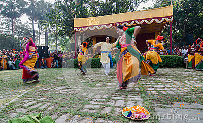 Dancers performing in Holi celebration, India Editorial Image