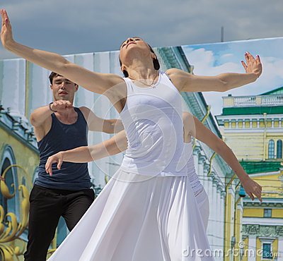 Dancers on a scene Editorial Stock Image