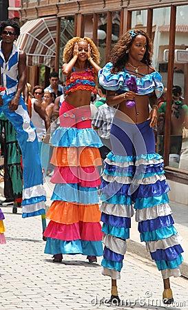 Dancers in Street Festival, Havana, Cuba