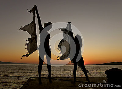 Dancers in the sunset
