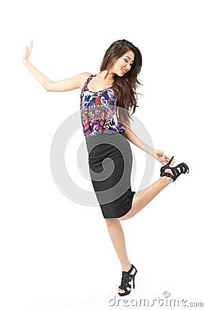 Dancing asian woman