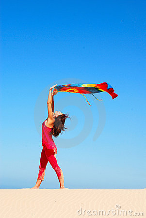 Dancing beach woman