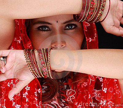 Dancing beauty with veil