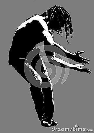 Free Dancing Black Man Silhouette Stock Images - 28592744