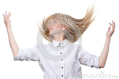 Dancing blond on white background