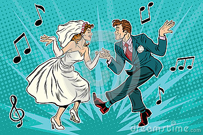 Dancing bride and groom Vector Illustration
