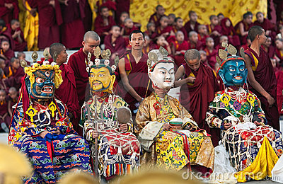 Dancing buddhists lamas Editorial Image