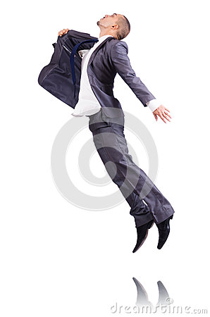 Dancing businessman isolated