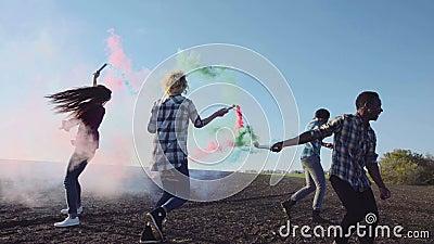 Dancing colored smoke grenades  Asian, field
