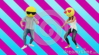 Dancing Couple Girls and Boy Enjoying Event with on Weekend Celebration stock videobeelden