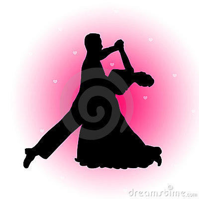 Dancing couple with hearts background
