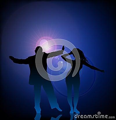 Dancing della donna e dell uomo sul chiarore dell obiettivo di vettore