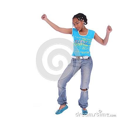 Dancing della ragazza dell afroamericano