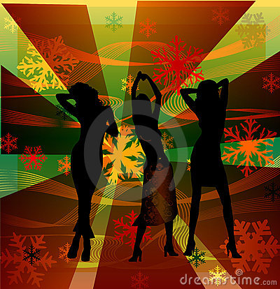Dancing disco female silhouettes