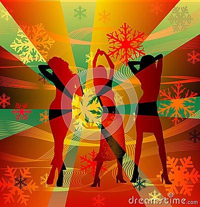 Dancing disco female silhouettes
