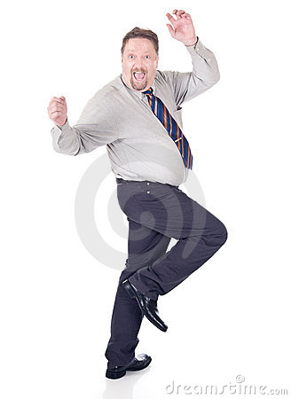 Dancing excited businessman