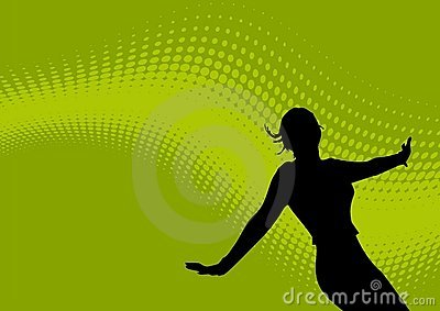 Dancing female and wavy logo