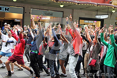 Dancing flash mob Editorial Stock Photo