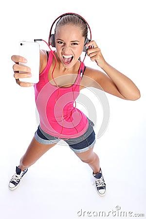 Dancing fun for sexy teenage girl music on phone