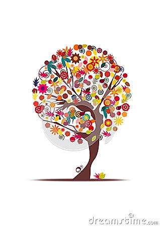 Dancing girl autumn tree