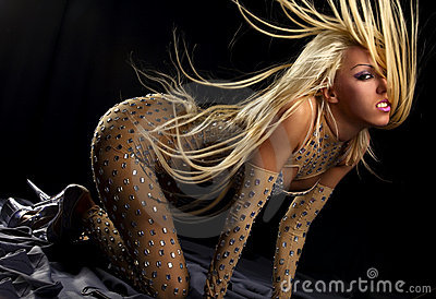 Dancing girl with great fly-away hair
