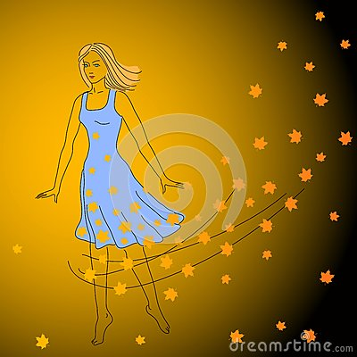 Dancing girl and maple leaves.