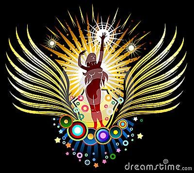 Dancing Girl Silhouette Emblem