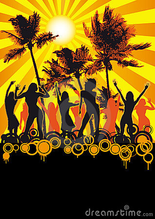 Free Dancing Girls Beach Disco Party Flyer Palms Royalty Free Stock Photo - 9387735