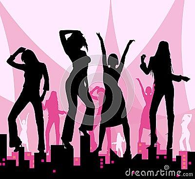 Dancing girls on city