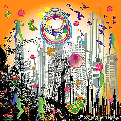 Free Dancing Girls-rainbow Vector Stock Photo - 5948100