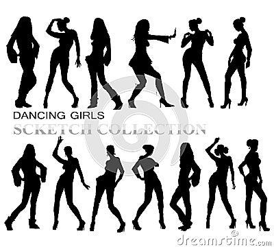Free Dancing Girls Silhouettes Stock Image - 50198731