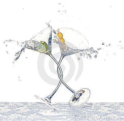 Dancing glasses with martini