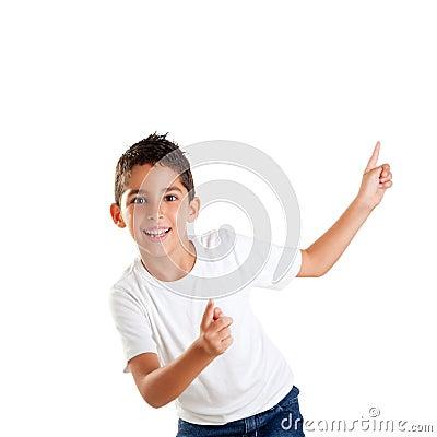 Dancing happy children kid boy with fingers up