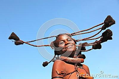 Dancing himba girl in Namibia Editorial Photo