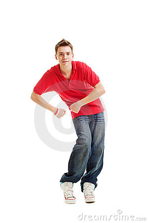 Free Dancing Hip-hop Guy In Red T-shirt Royalty Free Stock Photo - 10943885