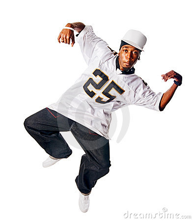 Dancing hip-hop young man on white