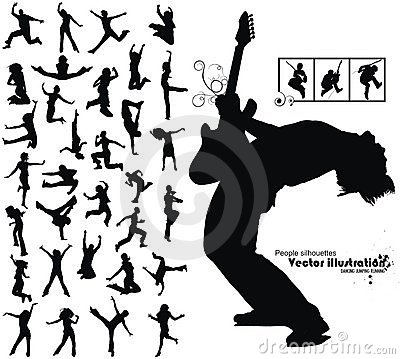 Free Dancing Jumping Running People Silhouettes Royalty Free Stock Image - 8041756