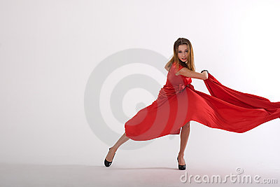 Dancing lady in red