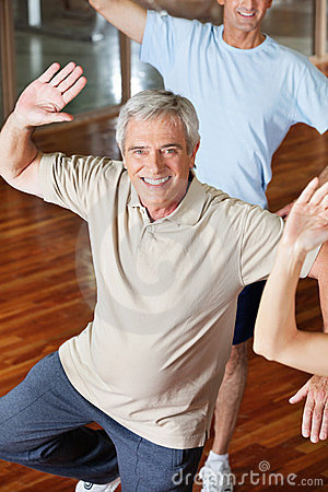 Dancing man in fitness center