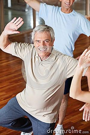 Dancing man in fitness center