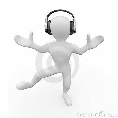 Dancing men in headphones. 3d