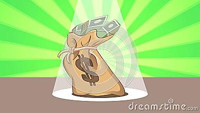 Dancing Money Bag. Money bag dancing on a stage stock illustration