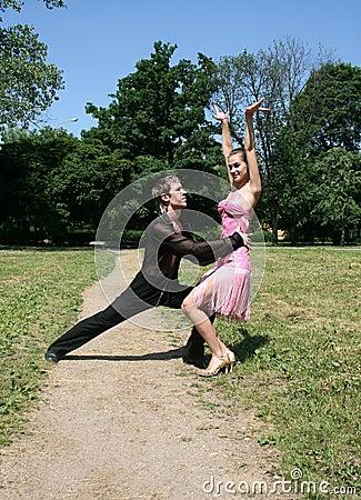 Dancing in a park